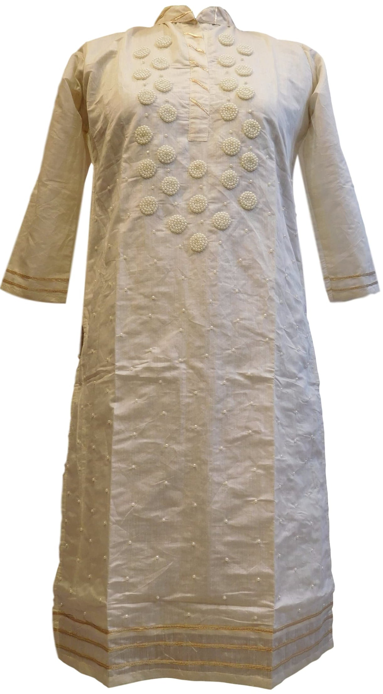 Cream Designer Cotton (Chanderi) Hand Embroidery Gota Pearl Work Kurti Kurta