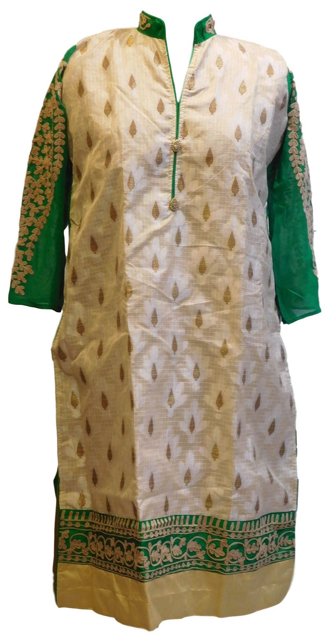 Cream & Green Designer Silk & Georgette (Viscos) Kurti