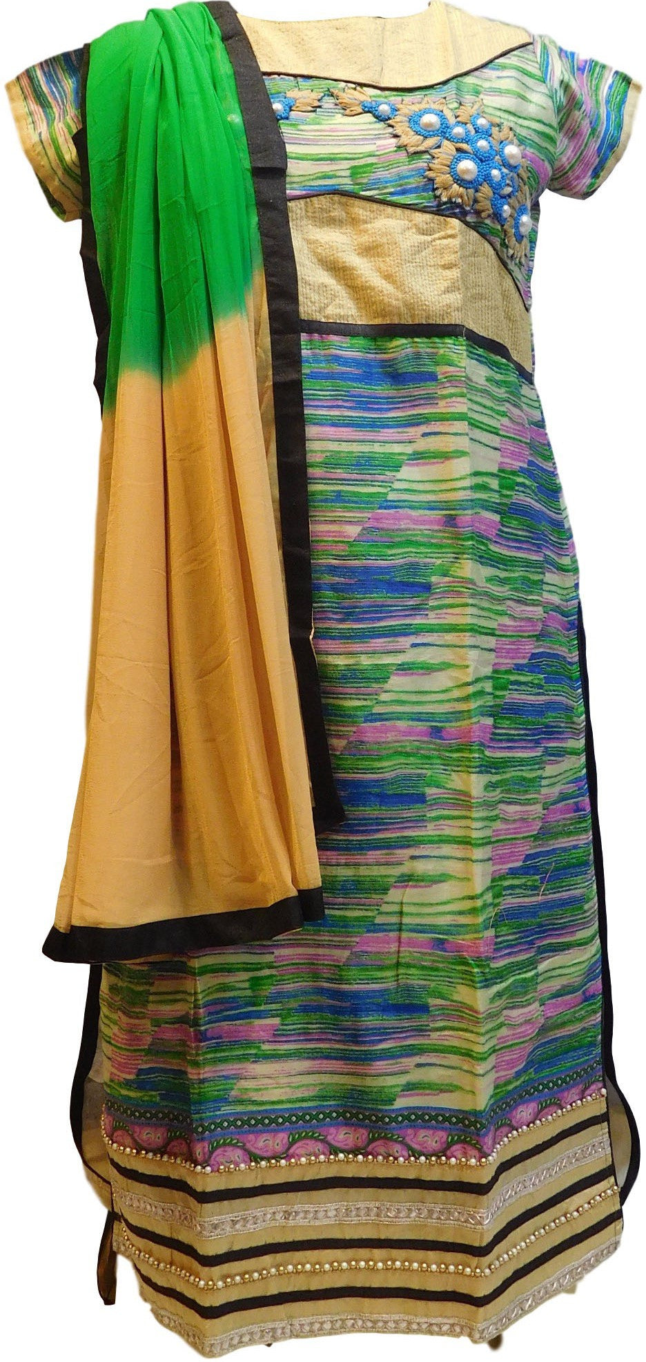 Multi Color Designer Cotton (Chanderi) Kurti With Dupatta