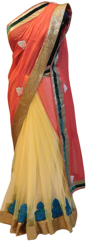 Gajari & Cream Pure Chiffon Saree