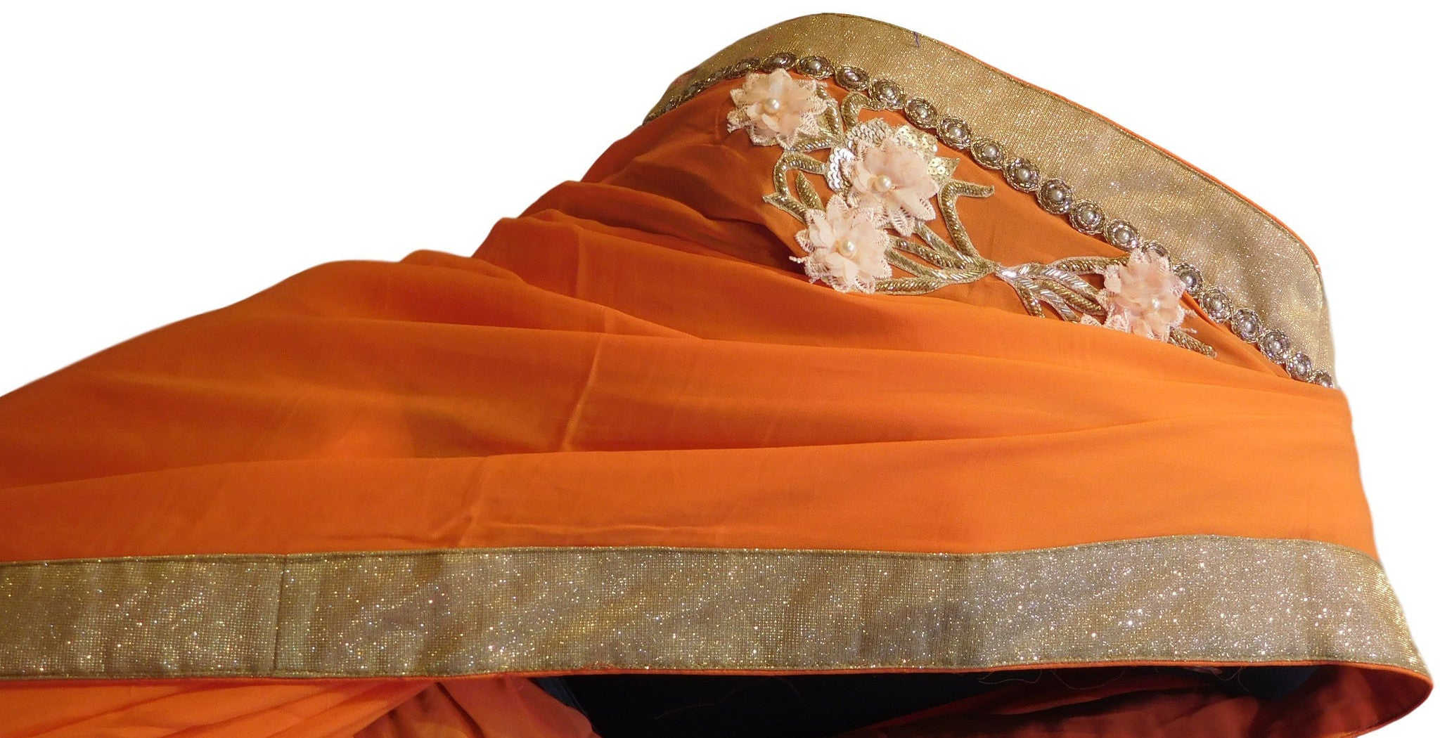 Orange Designer Georgette Saree