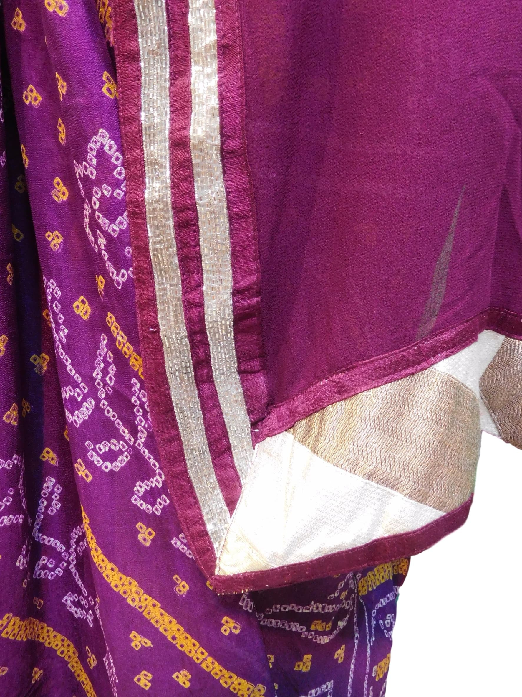 Wine Designer Bandhani Pure Georgette Hand Embroidery Work Saree Sari