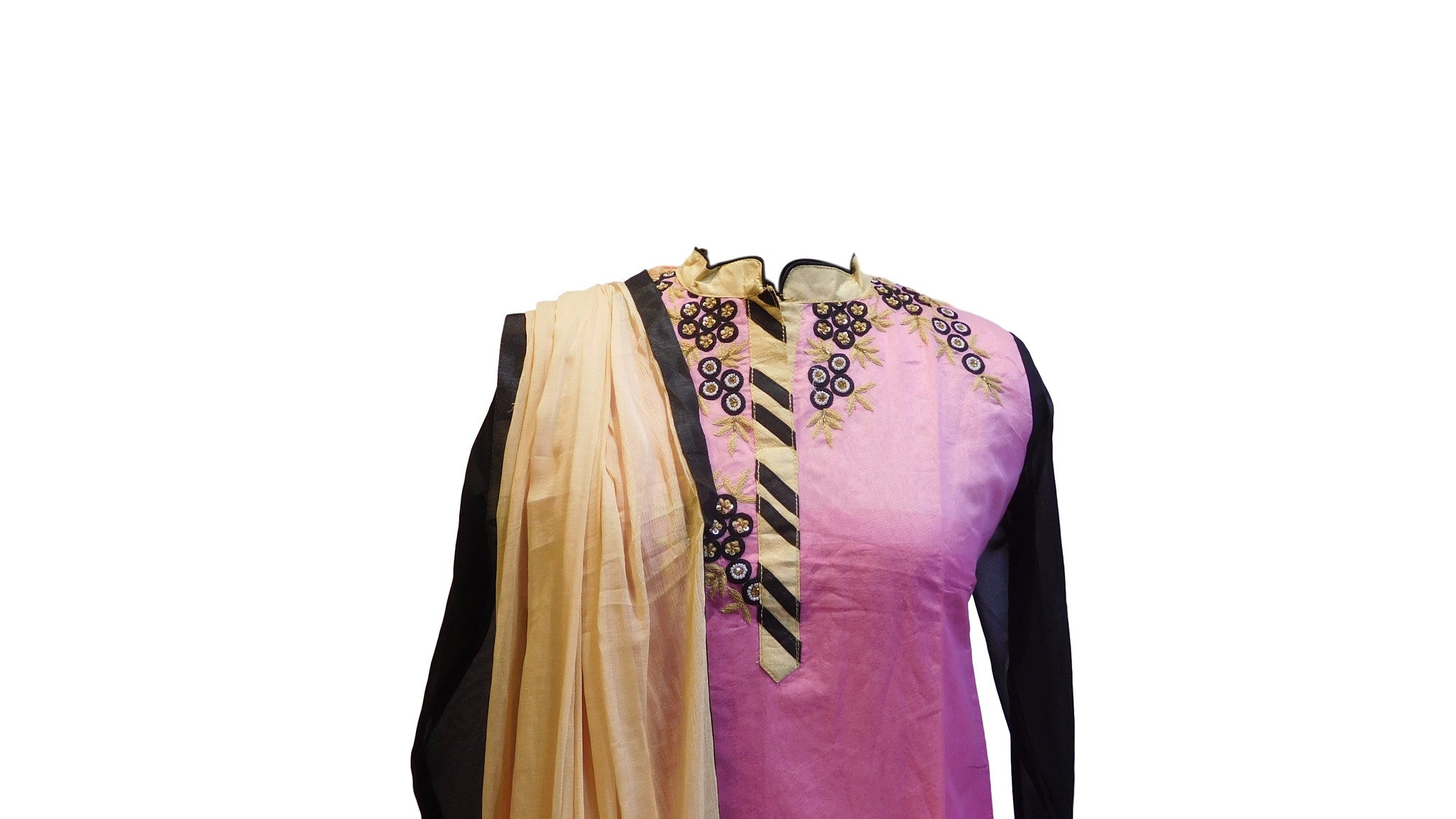 Pink & Black Designer Cotton (Chanderi) Kurti With Chiffon Dupatta
