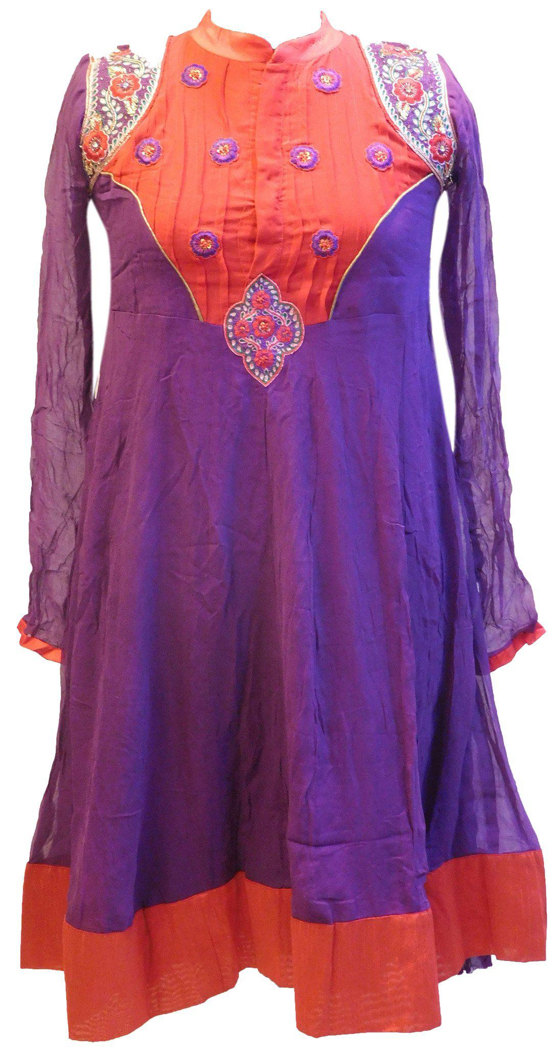 Red & Purple Designer Georgette Kurti