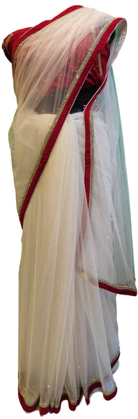 Red & White Designer Sari Net Saree With Very Heavy Blouse