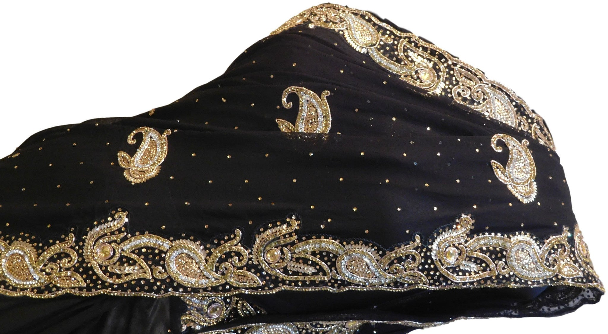 Black Designer Hand Embroidery Stone Work Cutwork Border Georgette Saree Sari
