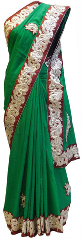 Green Designer Georgette Gota Work Saree With Red Border