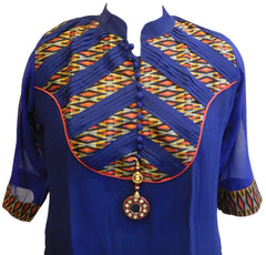 Blue Designer Cotton (Chanderi) Kurti