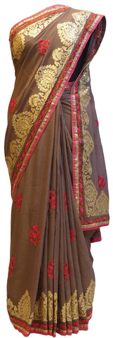 Coffee Brown Designer Georgette Saree