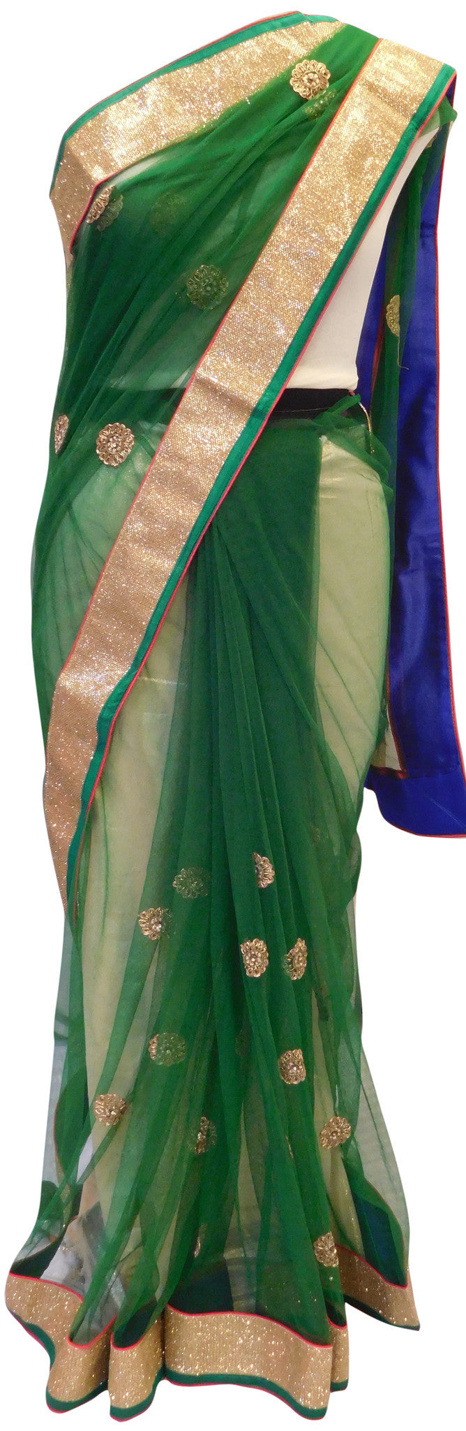 Green Net Stylish Saree