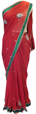 Red Velvet Border Saree