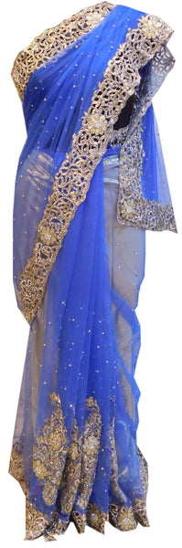 Blue Bridal Designer Bollywood Style Net Saree