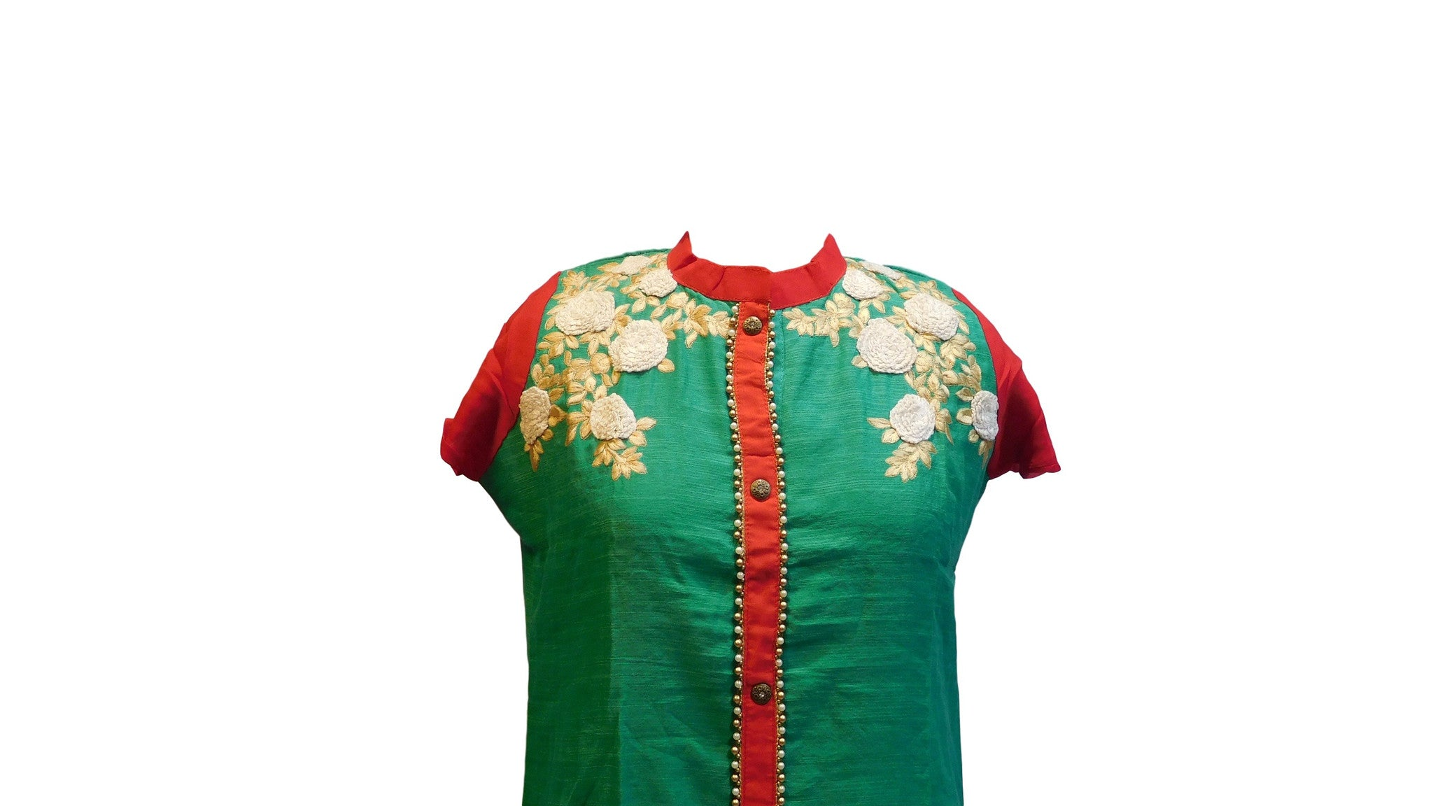 Turquoise & Red Designer Cotton (Chanderi) Kurti