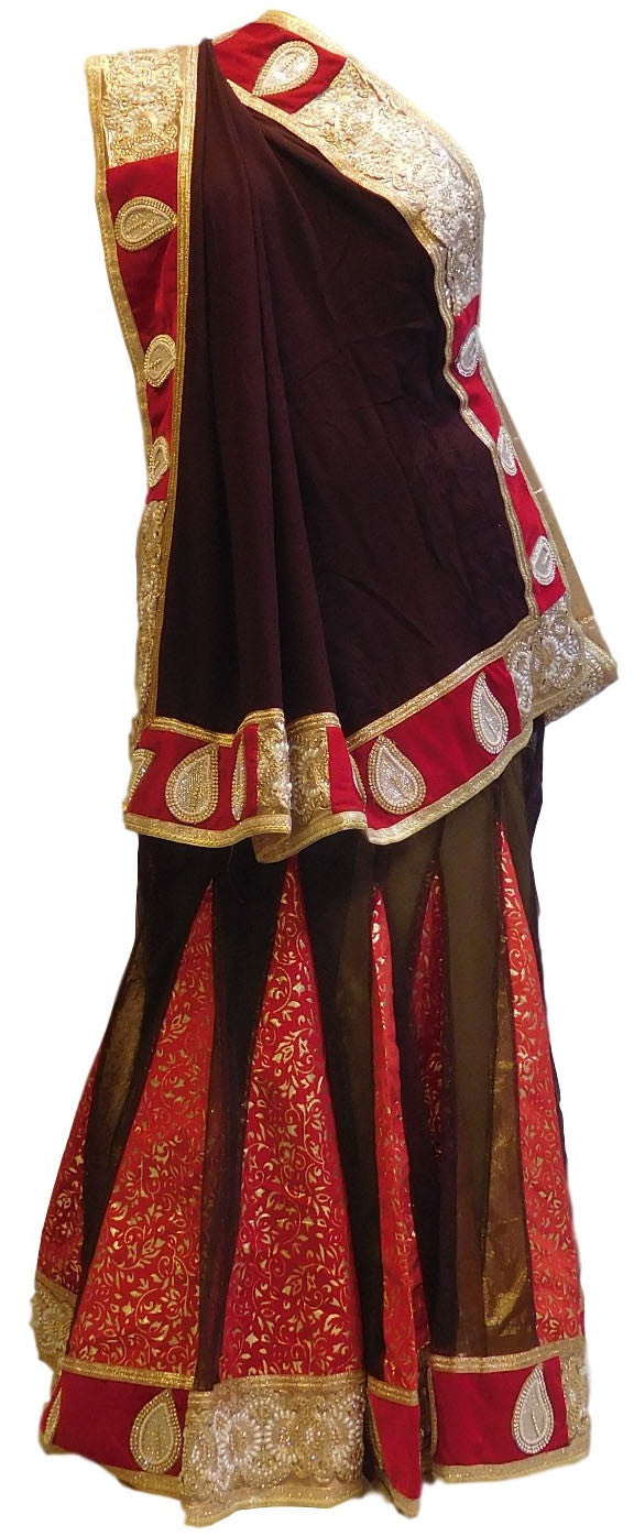 Black & Red Designer Georgette Lahenga Style Saree