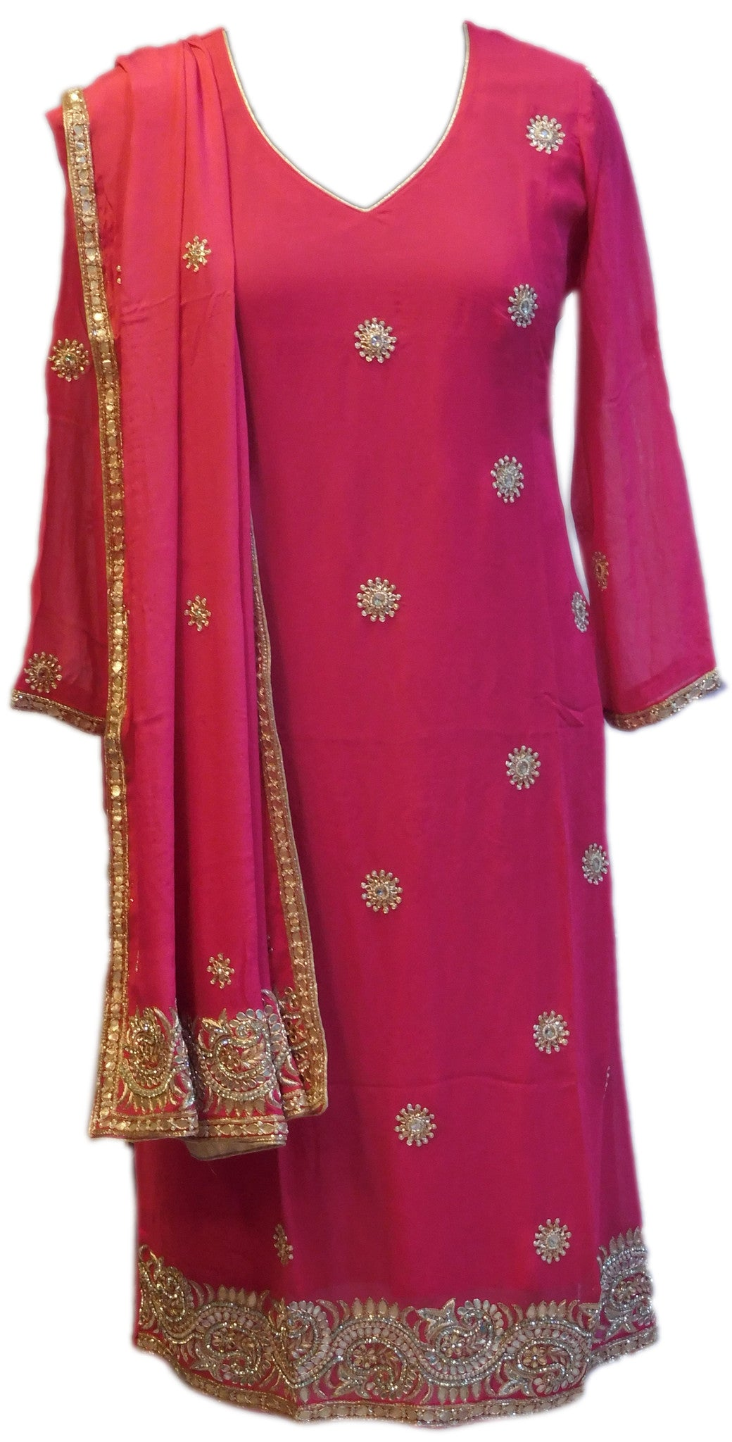 Pink Designer Georgette Kurti With Heavy Dupatta