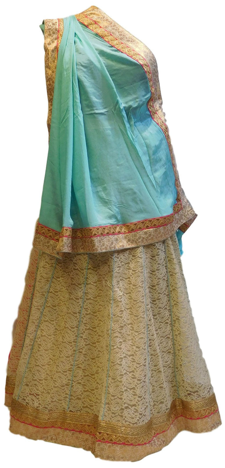 Turquoise & Cream With Lahenga Designer Crepe Saree
