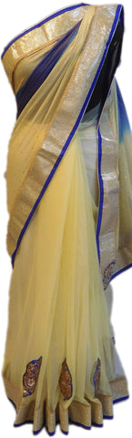 Cream & Blue Designer Saree