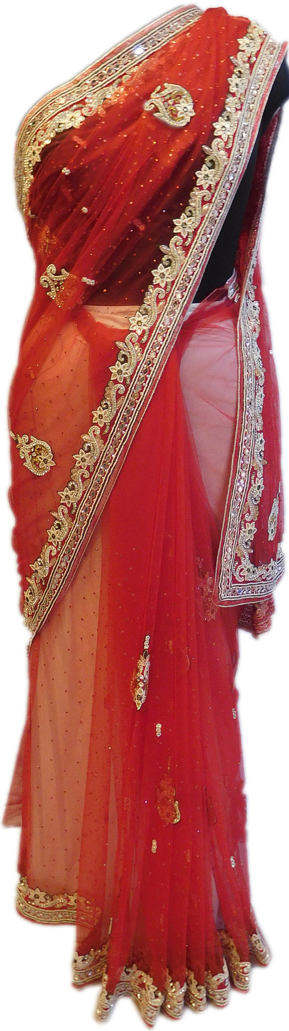 Red Stone Work Net Saree