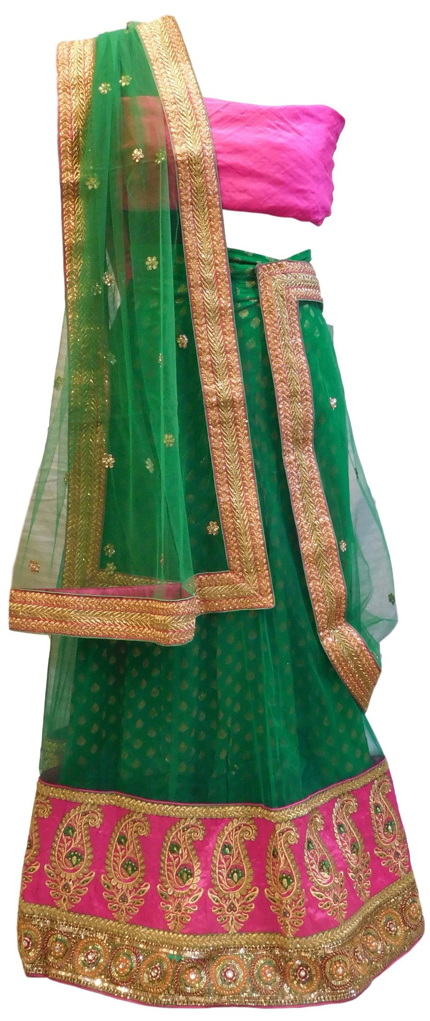 Green Designer Bridal Net Lahenga With Pink Blouse