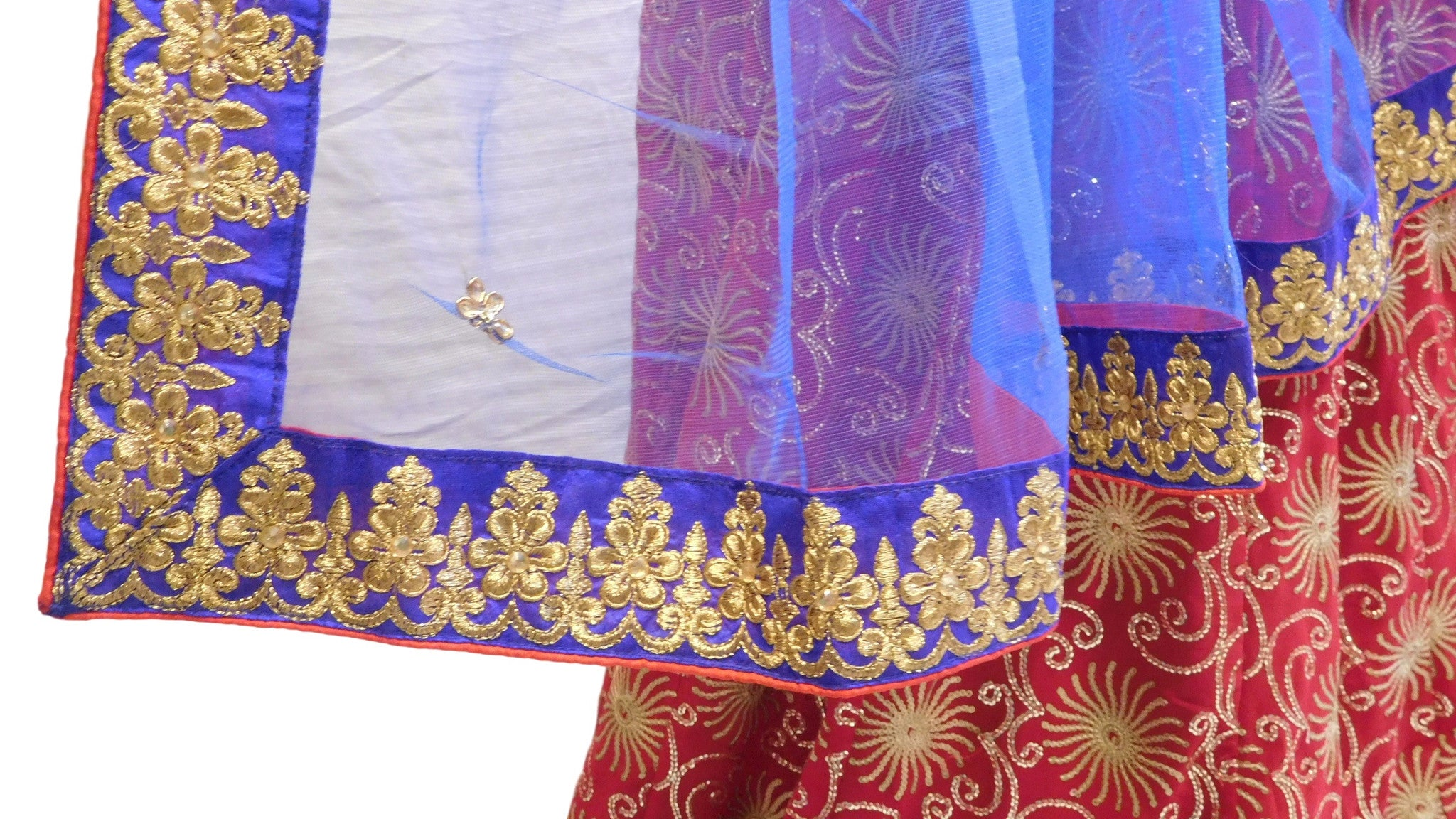 Red & Blue Designer Bridal Georgette Lahenga With Net Dupatta & Dupian Silk Blouse