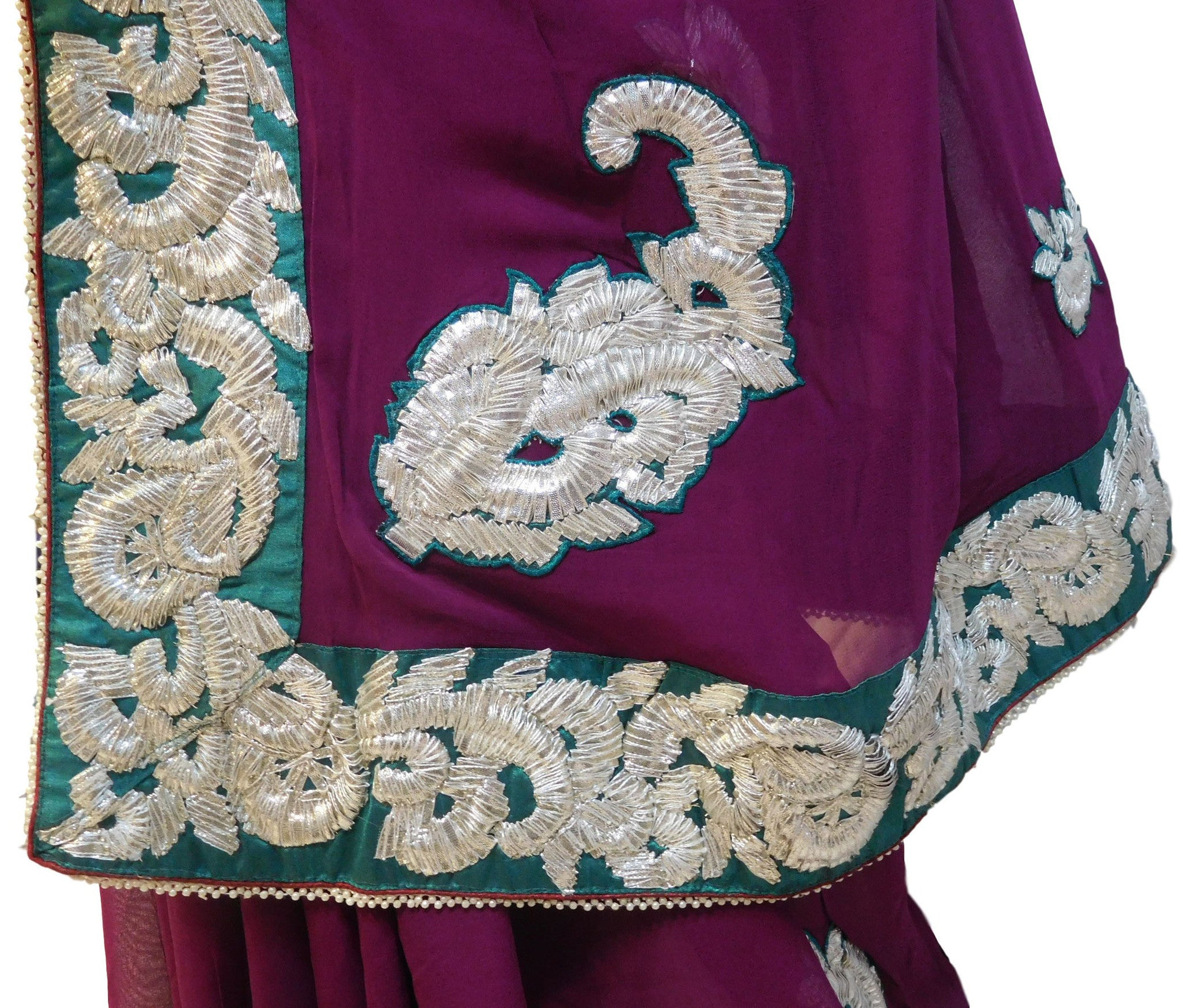 Wine Designer Georgette Gota Work Saree With Green Border