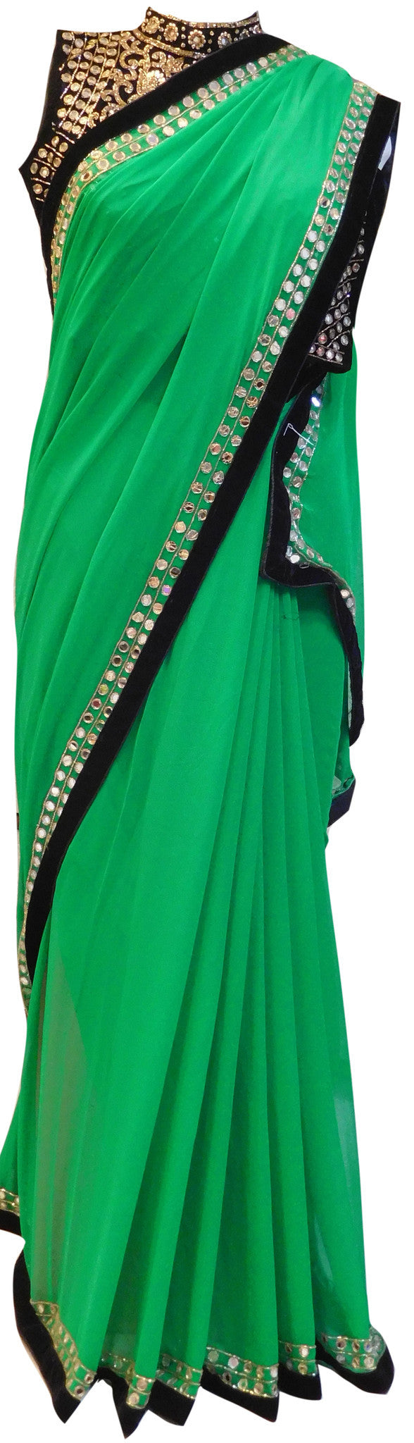 Green Designer Wedding Bridal Georgette (Viscos) Cutdana Stone Mirror Hand Embroidery Work Saree Sari WIth Heavy Blouse
