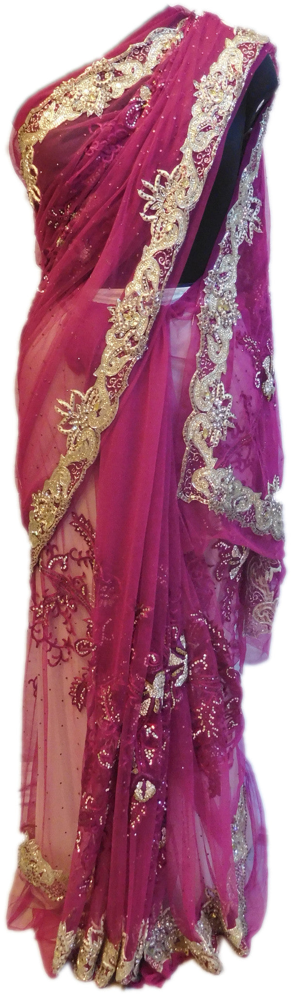 Wine Bridal Designer Bollywood Style Net Saree