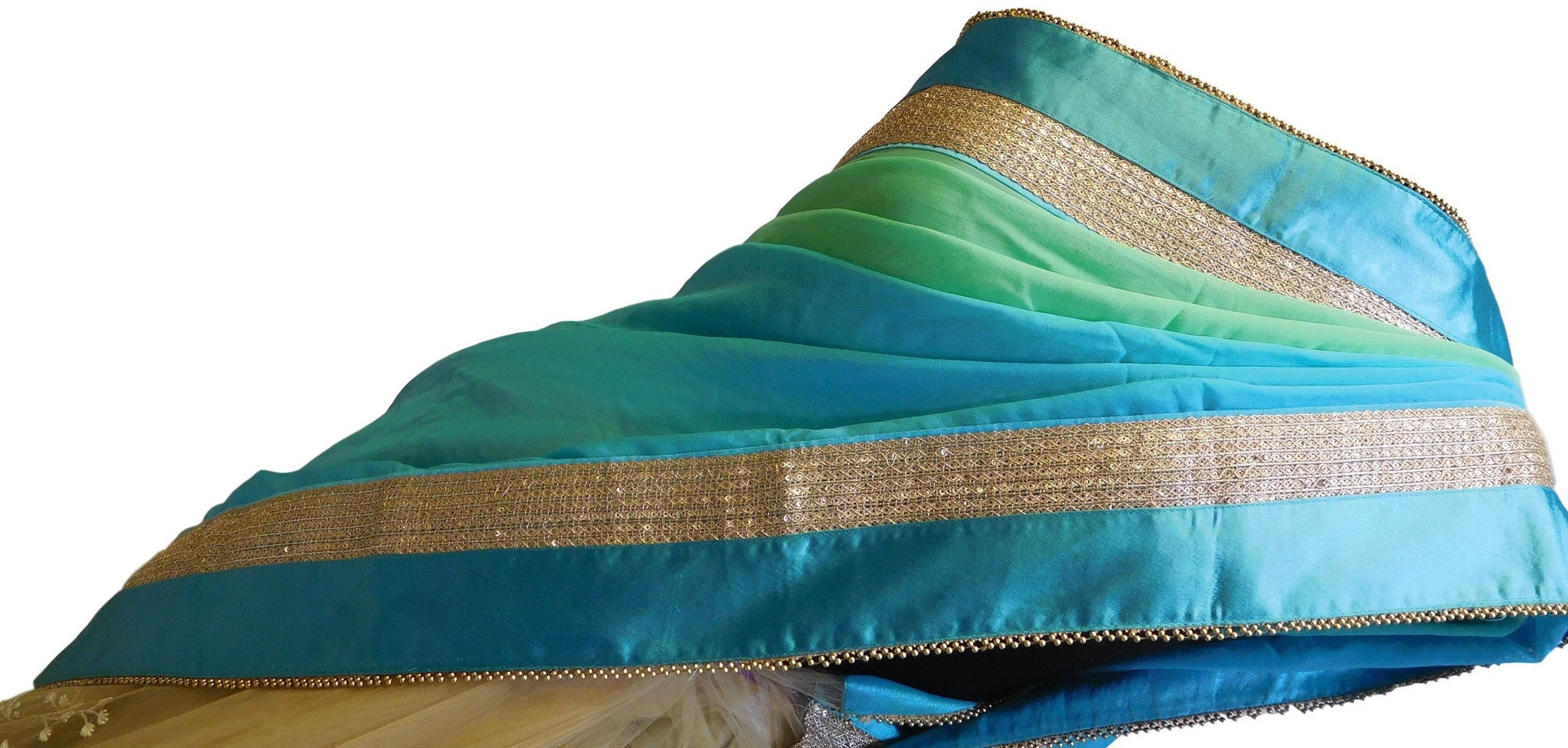 Turquoise & Cream Designer Georgette & Net Saree