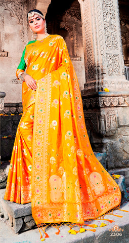 Yellow Jacquard Silk Heavy Work Designer Banarasi Saree Sari