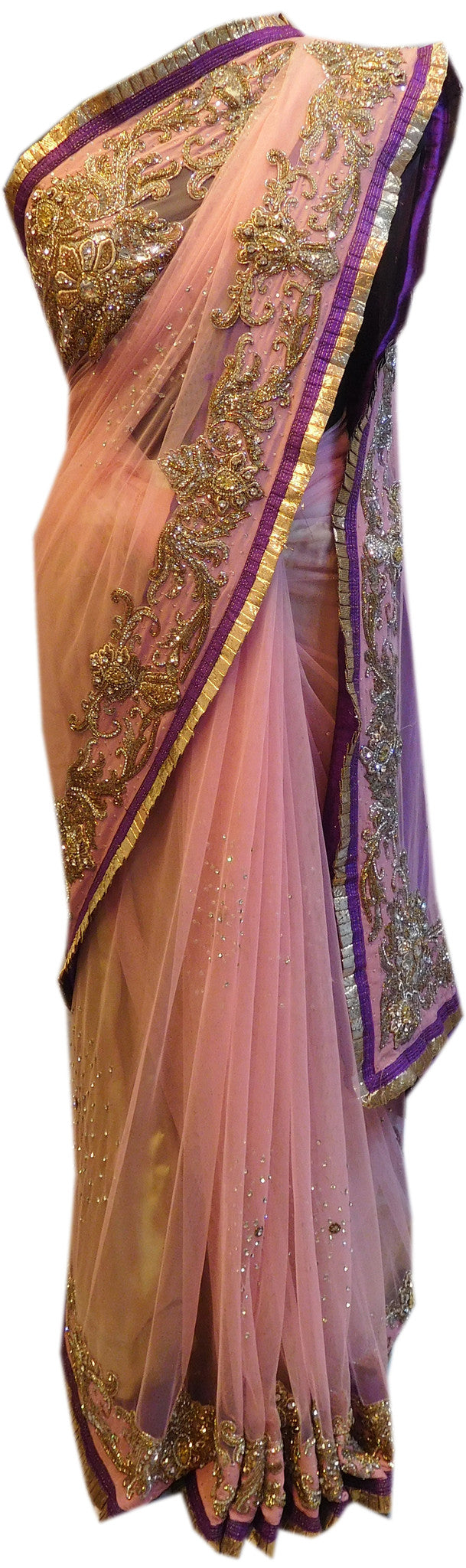 Pink Bridal Designer Bollywood Style Net Saree