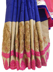 Pink Blue & Cream Designer Georgette (Viscos) Hand Embroidery Work Saree Sari