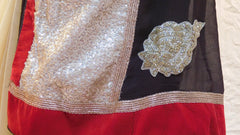 Brown Cream Designer Saree