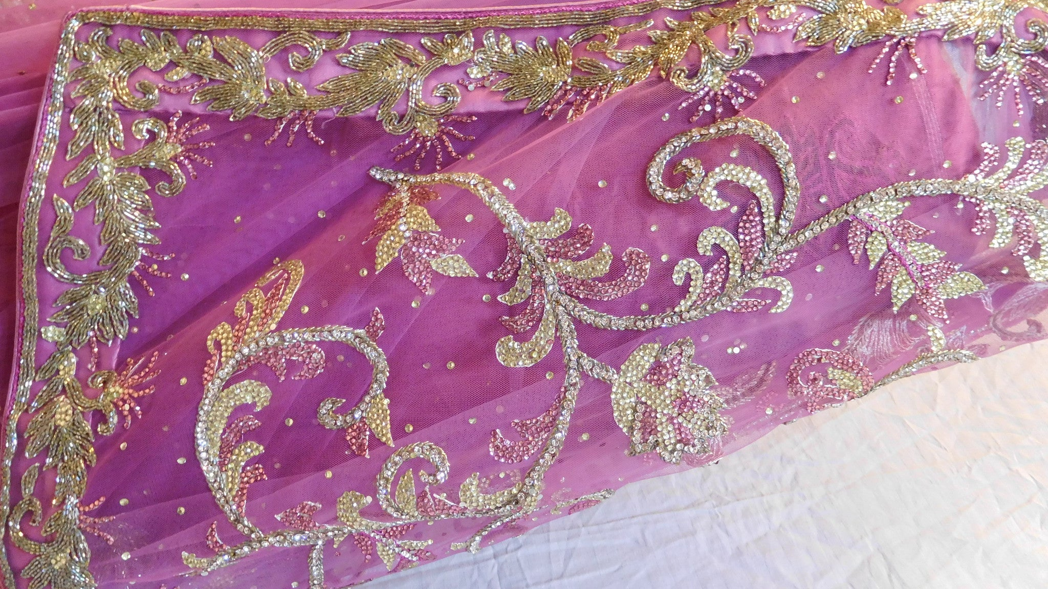 Lavender Bridal Designer Bollywood Style Net Saree