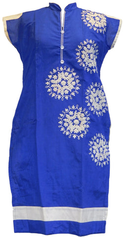 Blue & White Designer Cotton (Chanderi) Kurti