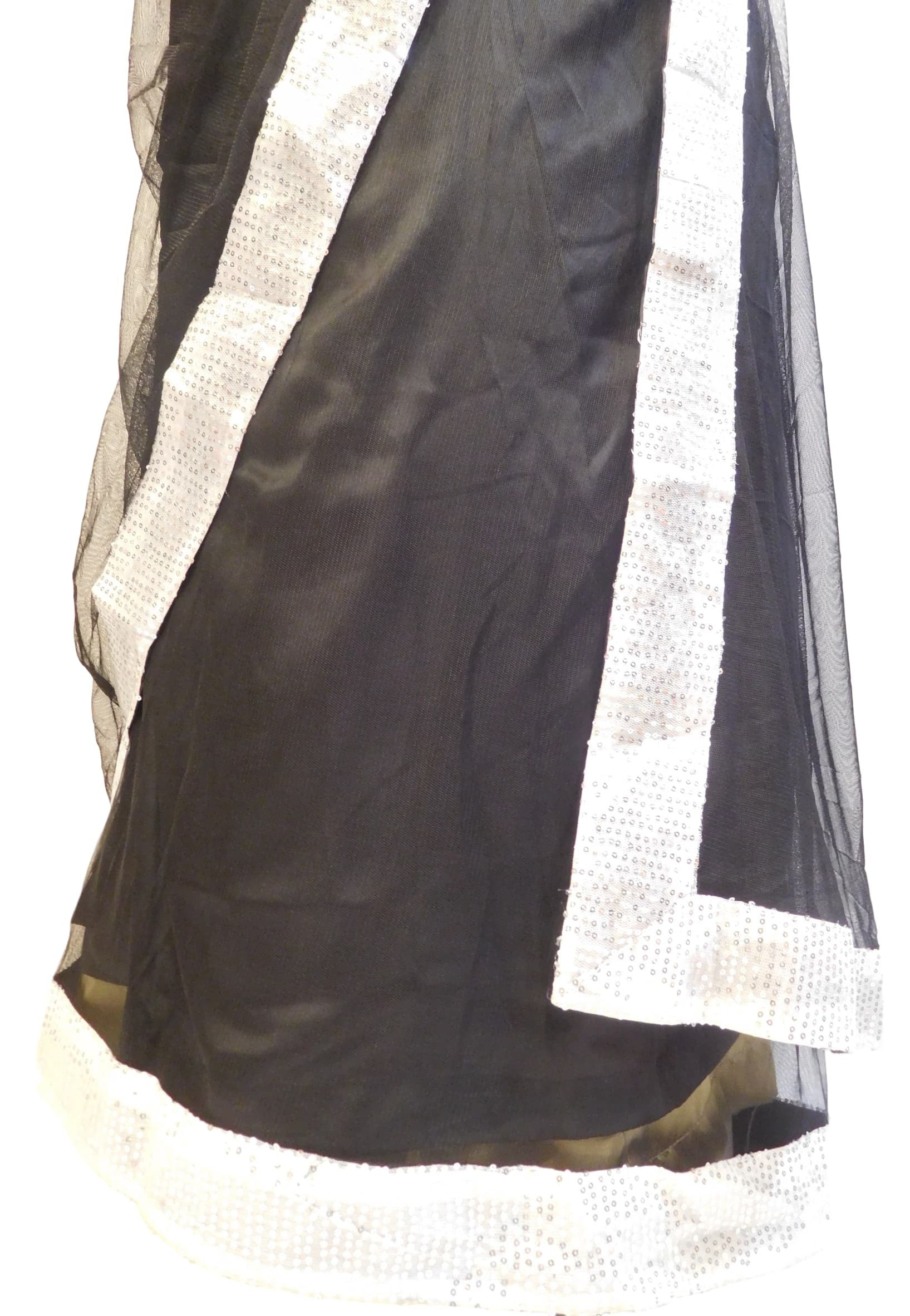 Black Designer Georgette Hand Embroidery Work Saree Sari