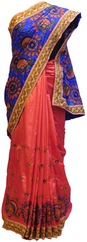 Blue & Pink Designer Silk Saree