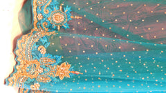 Turquoise Bridal Designer Bollywood Style Net Saree