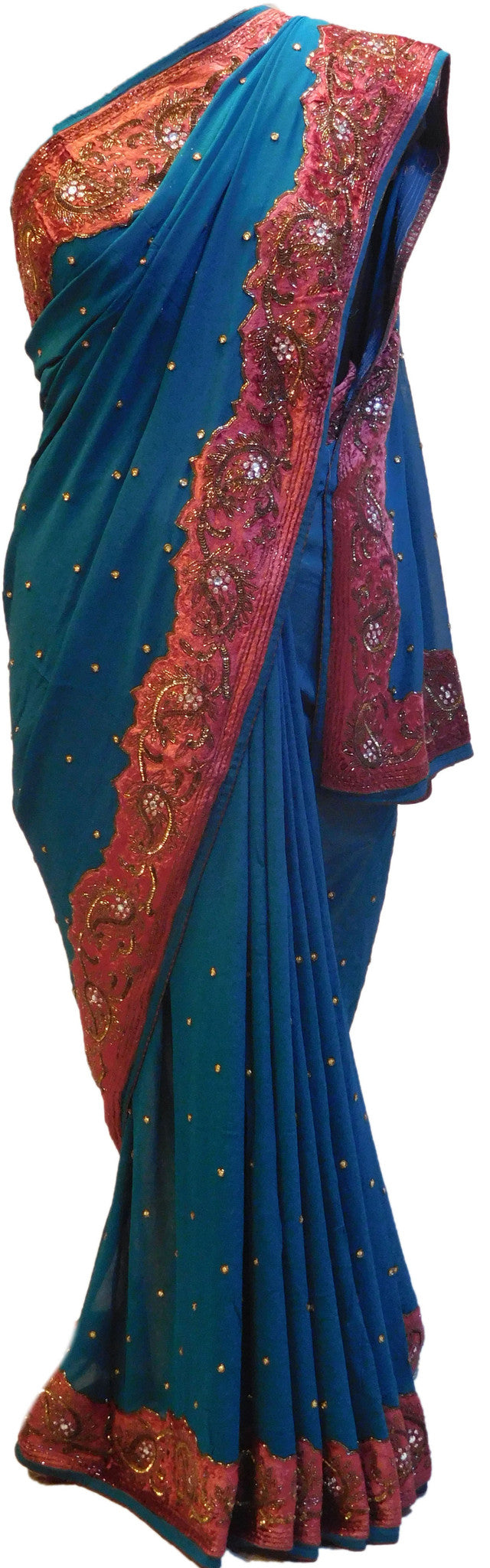 Blue Designer Pure Georgette Saree