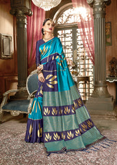 SMSAREE Turquoise Blue Designer Wedding Partywear Kanjeevaram Art Silk Hand Embroidery Work Bridal Saree Sari With Blouse Piece YNF-29204