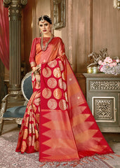SMSAREE Red Designer Wedding Partywear Kanjeevaram Art Silk Hand Embroidery Work Bridal Saree Sari With Blouse Piece YNF-29254