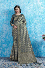 SMSAREE Charcoal Designer Wedding Partywear Tanchui Art Silk Hand Embroidery Work Bridal Saree Sari With Blouse Piece YNF-29740