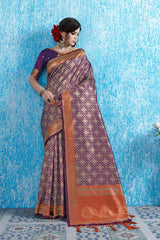 SMSAREE Purple Designer Wedding Partywear Tanchui Art Silk Hand Embroidery Work Bridal Saree Sari With Blouse Piece YNF-29742