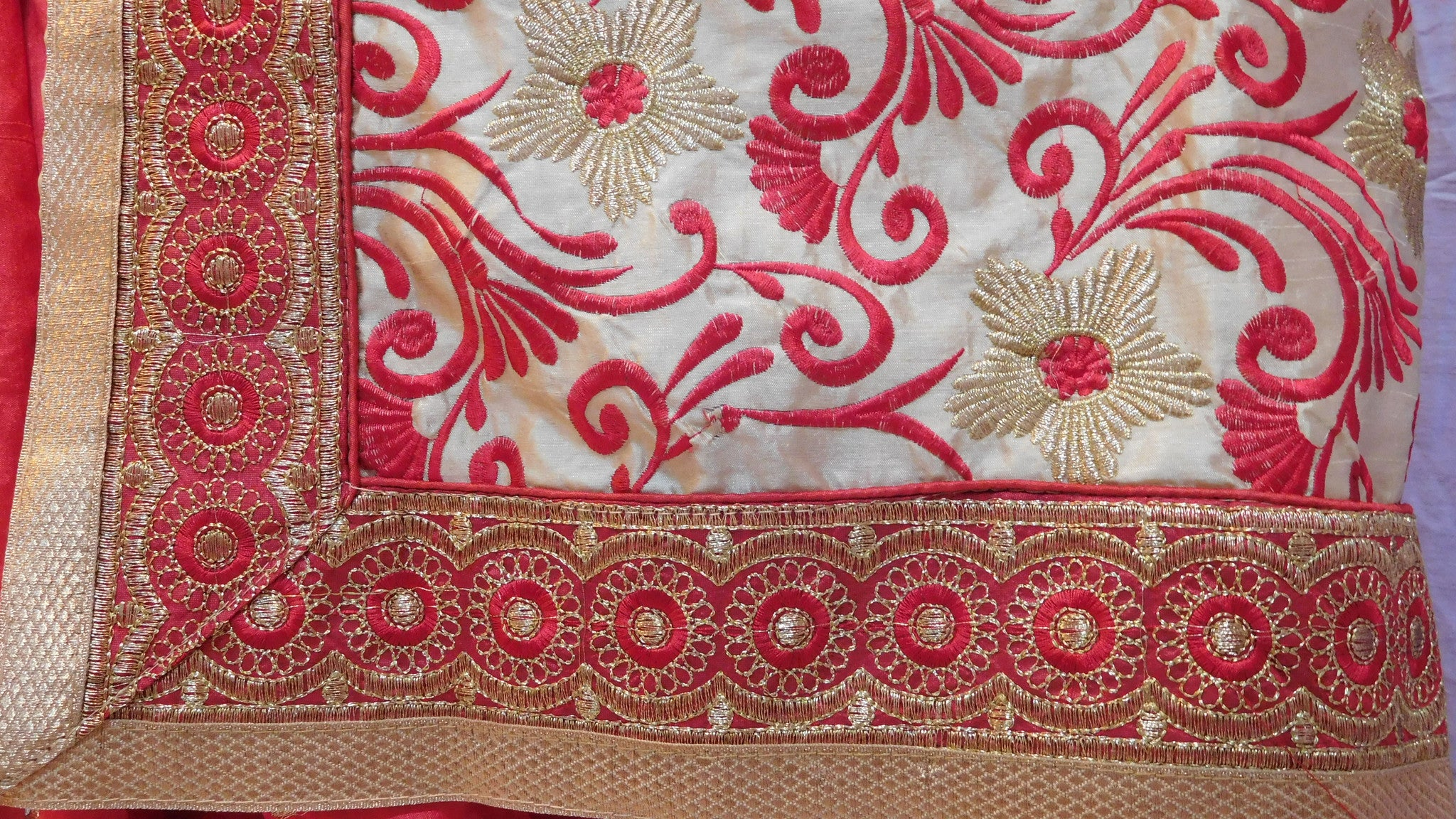 Red and Cream Designer Silk Saree