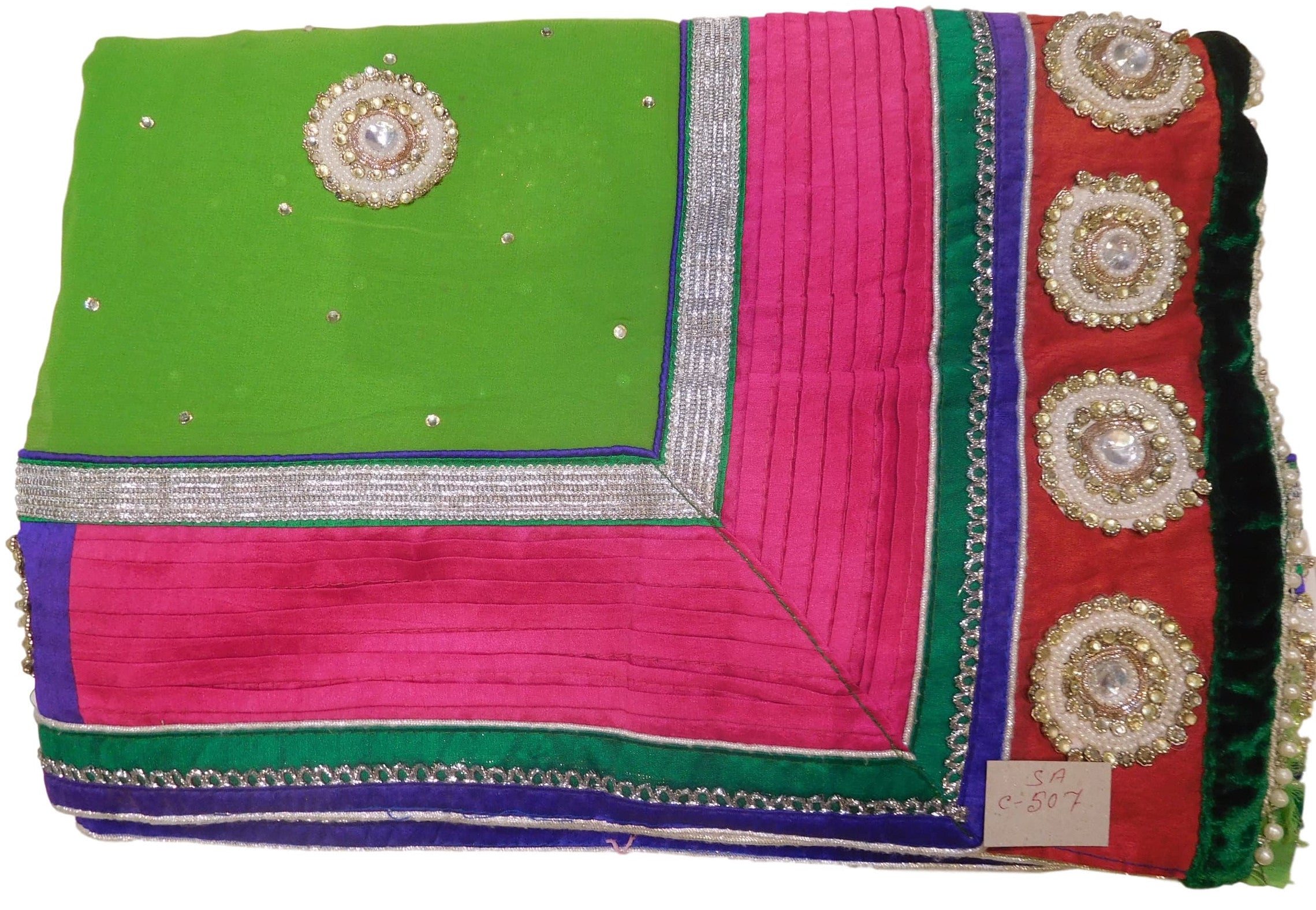 Green Designer Georgette (Viscos) Hand Embroidery Work Saree Sari