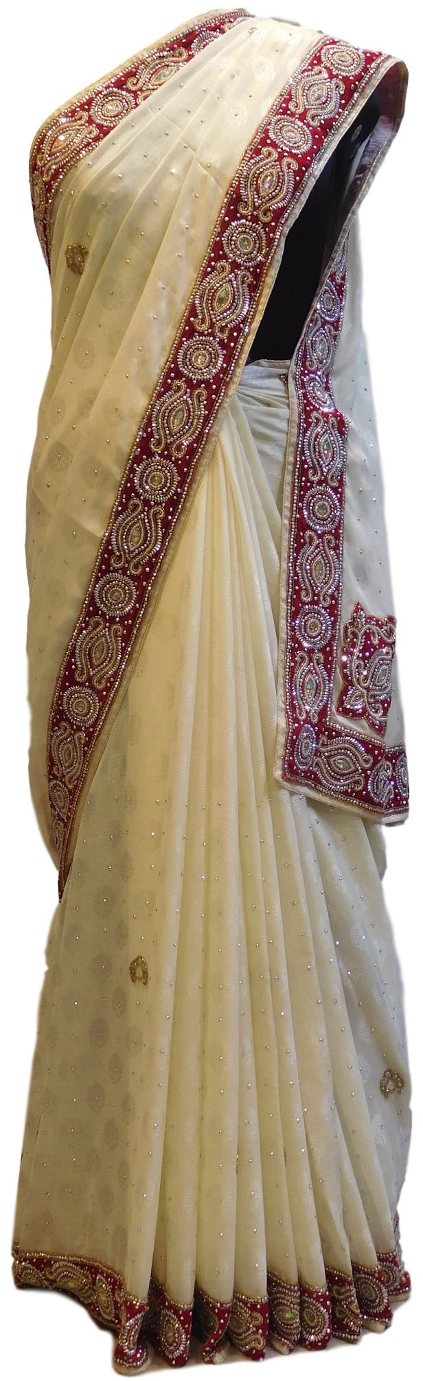 Cream  Designer Crepe Jackard Saree With Merron Velvet Hand Embroidery Border