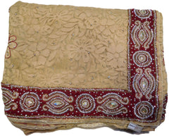 Beige Designer Net Brasso Saree With Merron Velvet Hand Embroidery Border