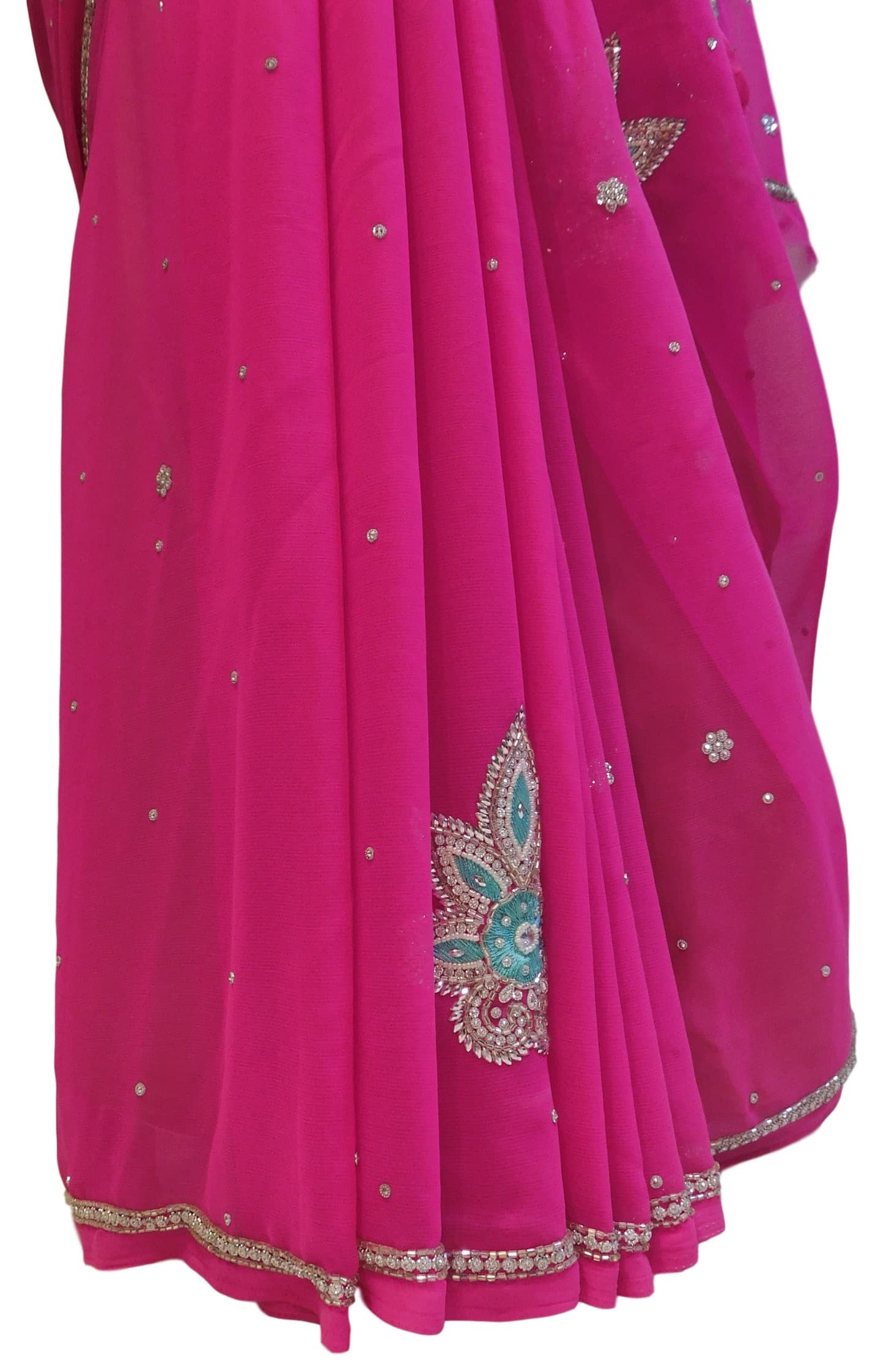 Pink Designer Georgette Hand Embroidery Work Saree Sari