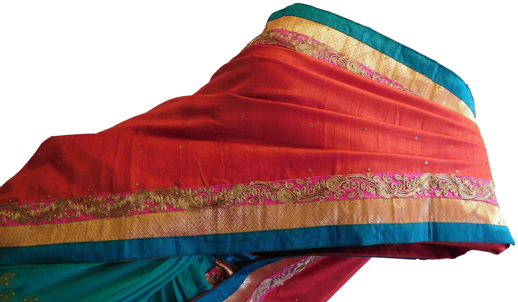 Red & Turquoise Designer Georgette Saree