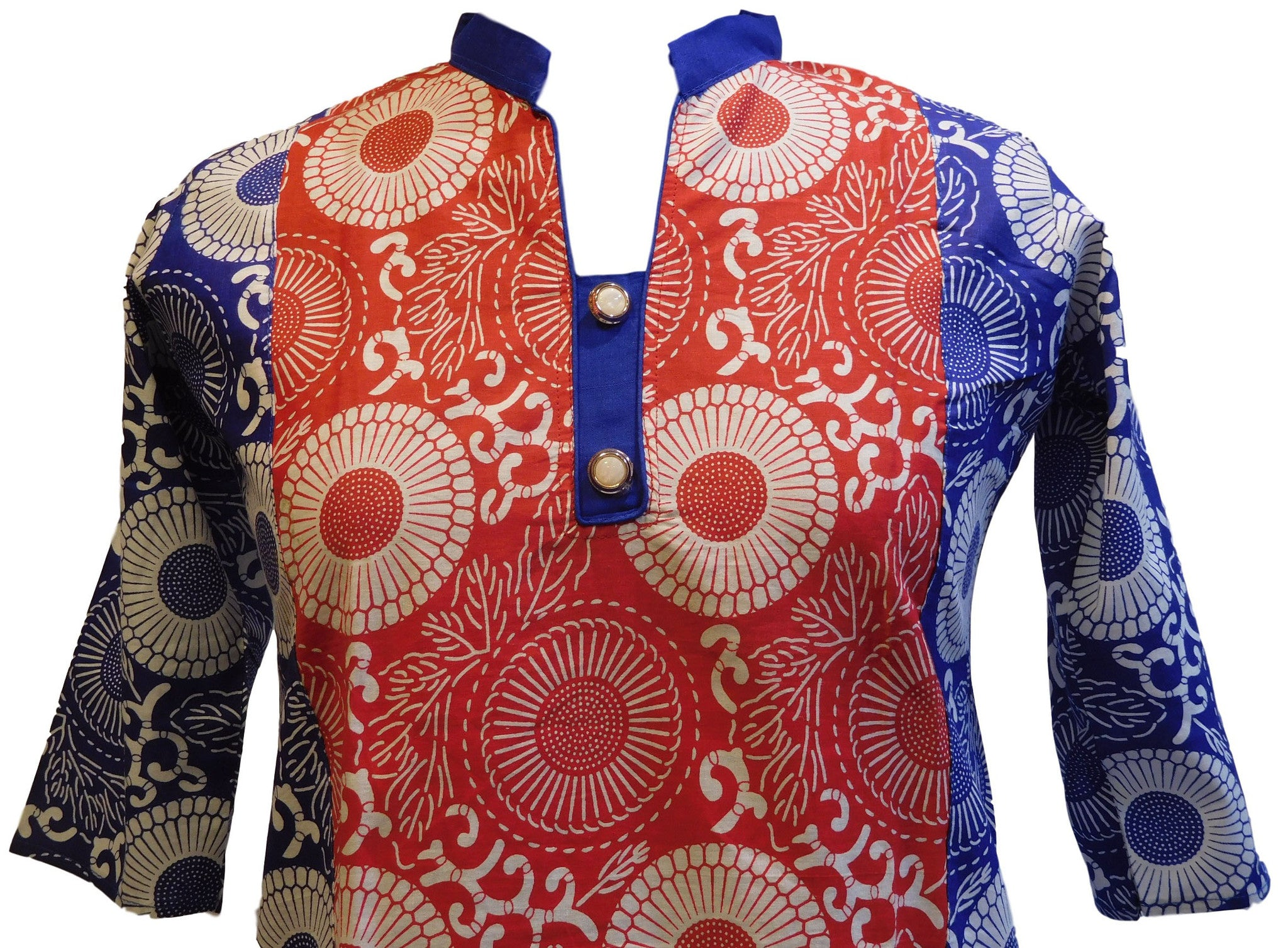 Red, White & Blue Designer Cotton (Chanderi) Printed Kurti