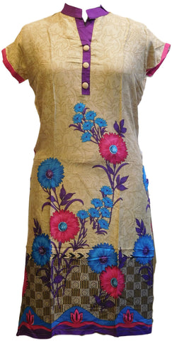 Begie Designer Cotton (Chanderi) Printed Kurti With Purple Taping